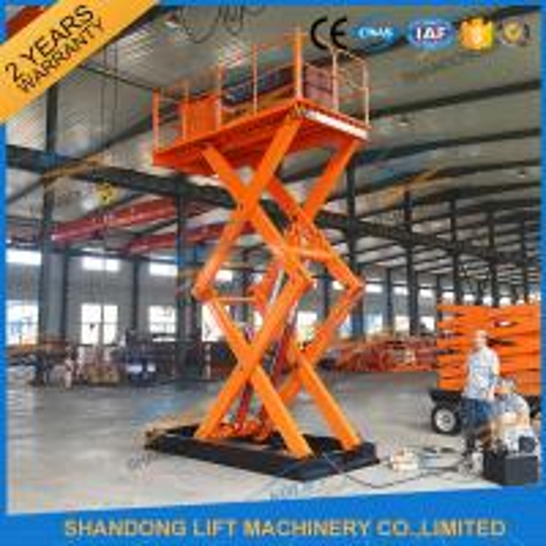 CE 3T 4.5M Stationary Hydraulic Scissor Auto Cargo Lift Platform