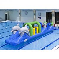 Wholesale Double Dolphin 12m Aqua Run Inflatables , Inflatable Water Island For Pool from china suppliers