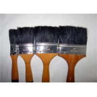 Quality Black Bristle Flat Sash Brush , Wall Painting Brush With Yellow Lacquered Wooden Handle for sale