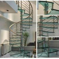 Wholesale Modern Spiral Staircase with Glass Tread and Stainless Steel Handrail from china suppliers