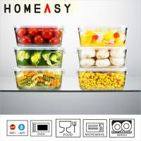 Wholesale Rectangular Pyrex Glass Food Storage Containers With 4-side Lock from china suppliers