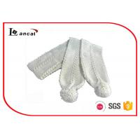 Wholesale White Hand Knit Infinity Scarf With Pom , Ladies Long Warm Winter Scarf from china suppliers