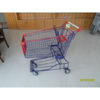 Wholesale 150L Asian style of Wire Supermarket Trolley Carts with Red Plastic , Wire Grocery Cart from china suppliers