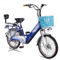 Quality 24'' Aluminum Rims Lithium Single Speed City Bike Blue Pedal Assist Electric Bike for sale
