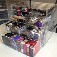 Wholesale fashion 4 tiers transparent acrylic makeup organizer cosmetic display case from china suppliers