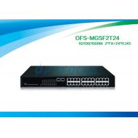 Quality 12G Fiber Optic Managed Switch 2 SFP 1000 BASE - Fx 24 10 / 100 / 1000 BASE - Tx Fiber Switch No SFP for sale