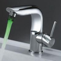 Buy cheap LED basin faucet, made of brass body and zinc handle, with chrome plating from wholesalers