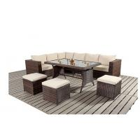 Quality L Shape Ritzy Rattan Sofa Group With Three Stools In Brown Color for sale