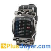 Wholesale Waterproof Binary Silicone Band Metal LED Watch - Black from china suppliers