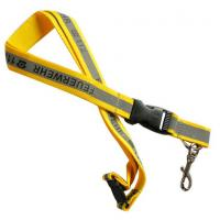 Wholesale Safety polyester reflective badge lanyard with reflective band and screen printed logo, from china suppliers