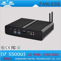 Quality Fanless mini industrial pc computer BroadWell fifth generation i7 5500u with dual HDMI for sale