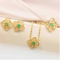 Wholesale Gold And Gemstone Jewelry Sets , Emerald Diamond Ring / Earrings / Necklace from china suppliers