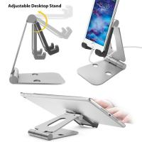 Wholesale Multi-angle Folding Portable Silver Black Aluminum Tablet Stand For Smartphone / iPad With A Silicone Anti-slip Cover from china suppliers