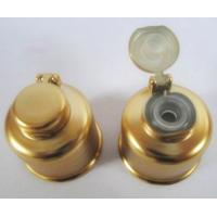 Wholesale CL-C416 24/410 plastic flip top cap w/metalization,matte gold snap-on cosmetic bottle cap from china suppliers