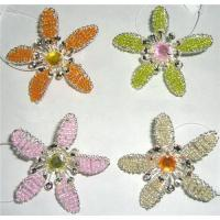 Buy cheap BEADED WIRE FLOWER WITH A PIN BEHIND, 4 COLORS,BROOCHES, ORNAMENTS from wholesalers