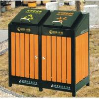 Wholesale Powder Coated Outdoor Site Amenities / Commercial Trash Cans With Double Drums from china suppliers