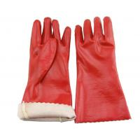 Red PVC dipped long safety gloves