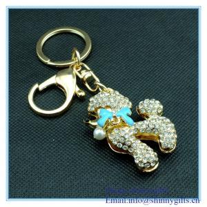 Wholesale Handmade enamel  mini dog shape metal key chain with rhinestone from china suppliers