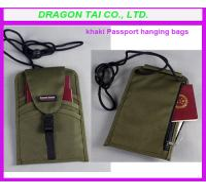 Wholesale khaki Passport hanging bags, passport bag, certificate hanging bags from china suppliers