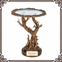 Quality Spanish countryside style resin round antique finishing living room side table G061GE for sale