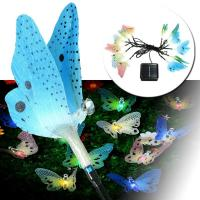 Quality Solar Fiber Optic Butterfly Outdoor Garden Patio String Lights Christmas gift color changing LED for sale