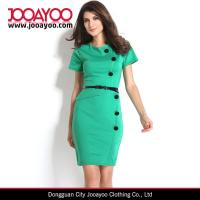 Wholesale Casual Cap Sleeves Button Belt Decoration Slim Fit Midi Office Dress for Women from china suppliers