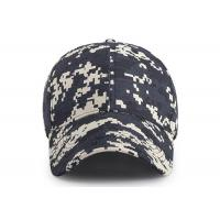 6 - panel Canvas Waterproof Buttonhole Army Camo Cap / Front Curved Baseball Cap for sale