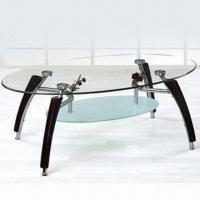 Wholesale Coffee Table 8mm tempered glass top, 6mm frosted glass shelf, with chrome covered wooden legs from china suppliers
