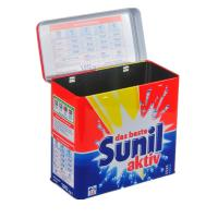 Wholesale Sunil Washing Powder Metal Tin Container Box / Lid With Hinger , Silver Inside from china suppliers