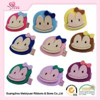 Wholesale Monkey Embellishment Baby Felt Hair accessories , little girl hair clips 3.5cm from china suppliers