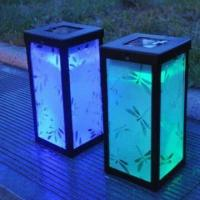 Wholesale Decoration Solar Metal Lanterns with butterfly shadow and blue light from china suppliers