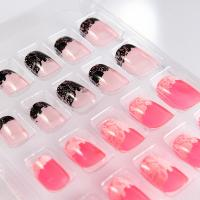 Wholesale Lace Pattern French Manicure Fake Nails For Fingers , Short Fake Nails from china suppliers