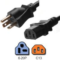 Wholesale UL Listed IEC 60320 C13 Power Cord NEMA 6 - 20P With 14 AWG Cable from china suppliers