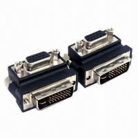 Wholesale Right Angle 90° VGA SVGA Female to DVI 24 + 5 male DVI to VGA RGB Adapter from china suppliers