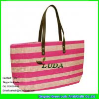 Wholesale LUDA 2015 summer colorful handbag tote bag paper straw beach bag with zipper from china suppliers