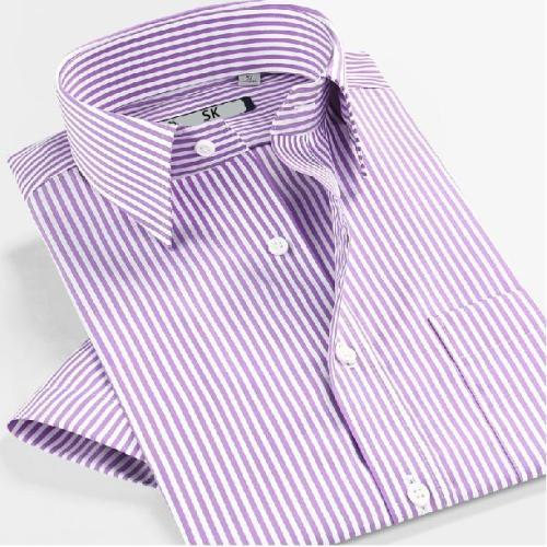 Men's Business Short Sleeve Slim Fit Cotton Stripe Shirts