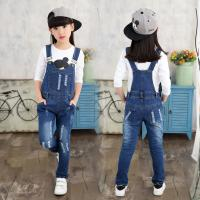 Wholesale Customized Size Kids / Toddler Overalls Jeans With Patches Dark Blue Vintage Wash from china suppliers