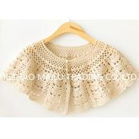Wholesale 100% Cotton Princess Style Sleeveless White Hand Crochet Baby Poncho Cape With Pearl Buttons from china suppliers