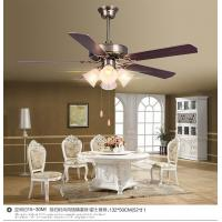 Wholesale Decorative Plywood Antique Brass Ceiling Fan And Light With 4pcs Lamps , 5pcs Leaf Blades from china suppliers