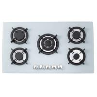 Wholesale Milk White Tempered Glass Gas And Electric Hob , 5 Ring Gas Cooker 900*510mm from china suppliers