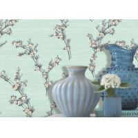 Wholesale Green Leaf Pattern 1.06m Korean Wallpaper / Flocking Home Decorating Wallpaper from china suppliers