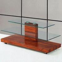 Wholesale TV Stand with 12mm Top Clear Glass and MDF Black High Glass Frame from china suppliers