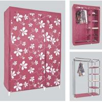 Wholesale Space Saving Clothes Storage Wardrobe with Printing Fabric Cover and Iron Tube Frame from china suppliers