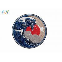 China Great Wave Off Kanagawa Patch Embroidered Applique Badge Iron On Sew On Emblem on sale