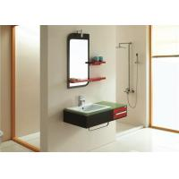 Country glass countertops bathroom vanity cabinets with mirror and