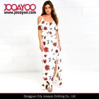Wholesale Women Elegant Off-shoulder Short Sleeve Floral Print White Maxi Dress from china suppliers