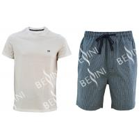 Wholesale Cotton Jersey Men'S V Neck Pajamas / Mens T Shirt And Woven Shorts Pyjamas With Side Pockets from china suppliers
