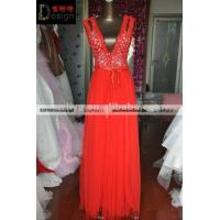 Wholesale REAL Design Red Sleeveless Tulle V Neck Foor Lenght Online Shopping Girl Dress from china suppliers