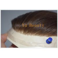 China Tot selling remy human hair piece toupee for black men, invisible knot very natural hair line toupee on sale