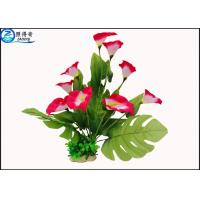 Wholesale Simulation Anthurium Plastic Aquatic Plants Marine Polyresin Aqua Decor Fake Flowers from china suppliers